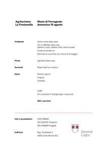 Menù Agriturismo La Fontanella